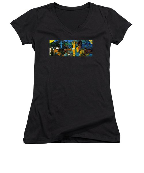 Where Do We Come From. What Are We Doing. Where Are We Going Women's V-Neck T-Shirt (Junior Cut) by Paul Gauguin