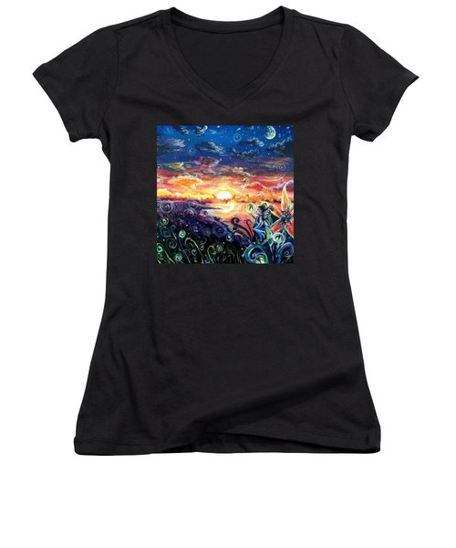 Women's V-Neck T-Shirt (Junior Cut) featuring the painting Where The Fairies Play by Shana Rowe Jackson