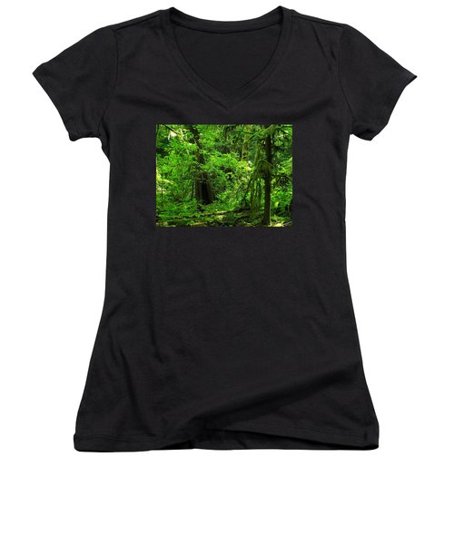 Where The Forest People Live Revised Women's V-Neck (Athletic Fit)