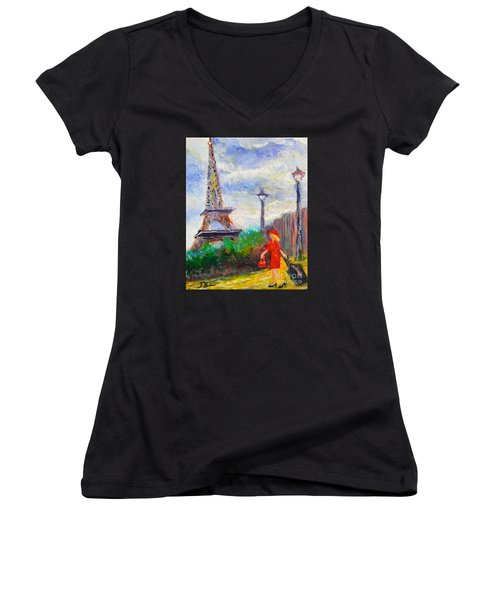 Where To .... Paris  Women's V-Neck (Athletic Fit)