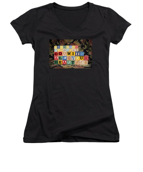 Wherever You Go Go With All Your Heart Women's V-Neck