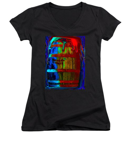 Whiskey A Go Go Women's V-Neck T-Shirt (Junior Cut) by Alec Drake