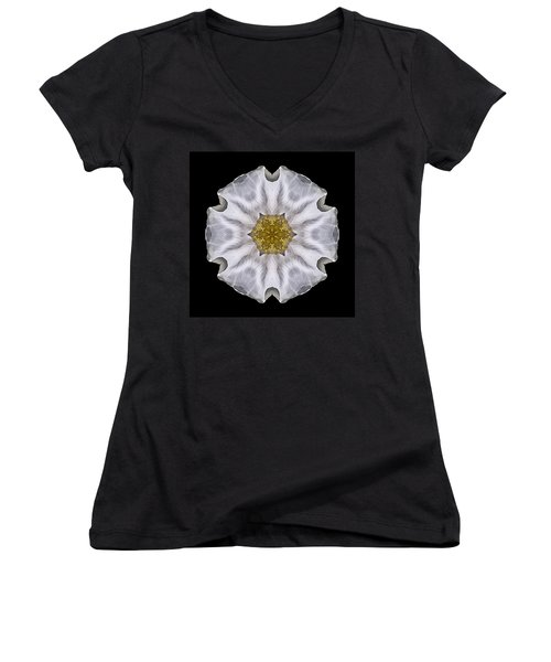 White Beach Rose I Flower Mandala Women's V-Neck (Athletic Fit)