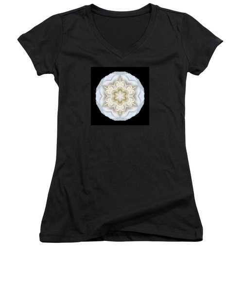 White Begonia II Flower Mandala Women's V-Neck (Athletic Fit)