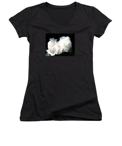 White Begonia  Women's V-Neck T-Shirt (Junior Cut) by Sharon Duguay