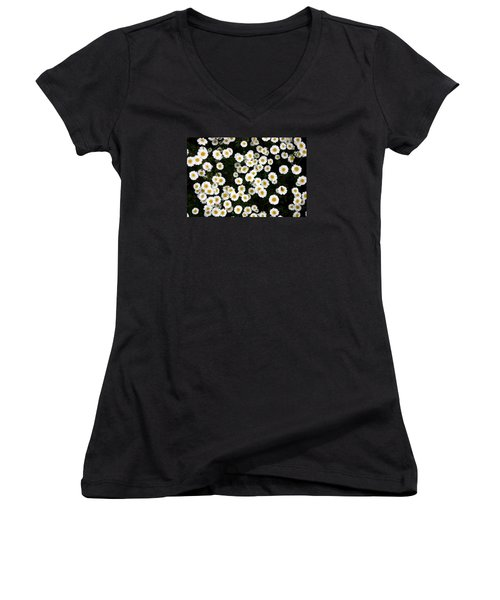 Women's V-Neck T-Shirt (Junior Cut) featuring the photograph White Daisys by Jean Walker
