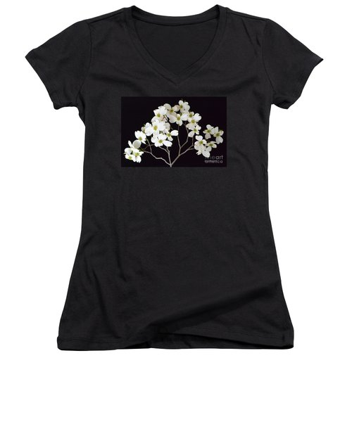 Women's V-Neck T-Shirt (Junior Cut) featuring the photograph White Dogwood Branch by Jeannie Rhode