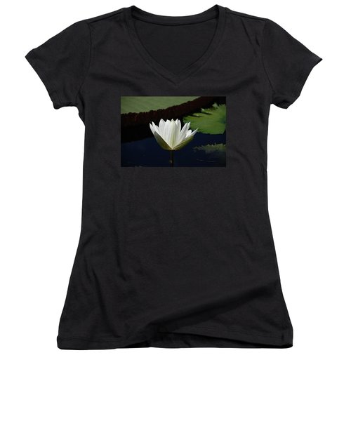 Women's V-Neck T-Shirt (Junior Cut) featuring the photograph White Flower Growing Out Of Lily Pond by Jennifer Ancker