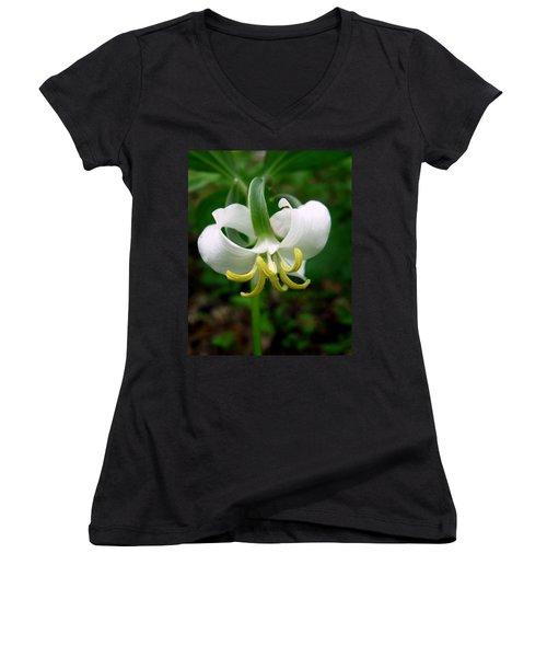 White Flowering Rose Trillium Women's V-Neck (Athletic Fit)