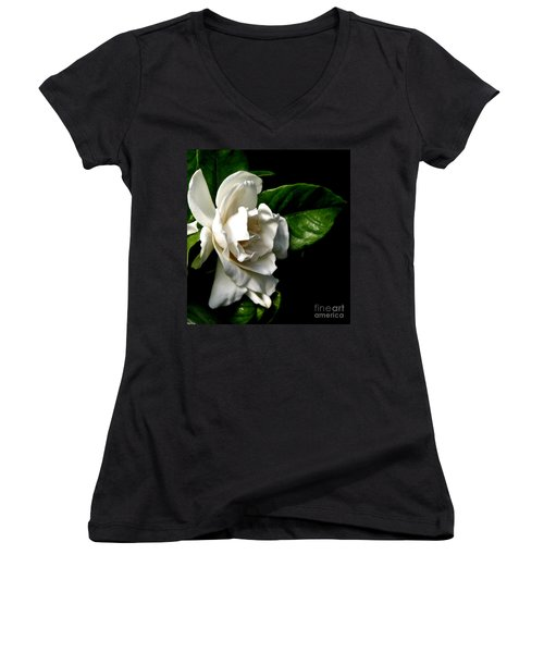 Women's V-Neck T-Shirt (Junior Cut) featuring the photograph White Gardenia by Rose Santuci-Sofranko