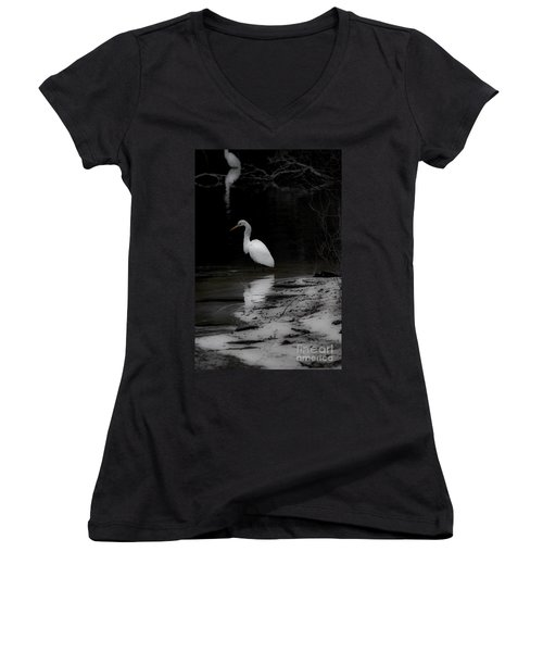 White Heron Women's V-Neck T-Shirt (Junior Cut) by Angela DeFrias