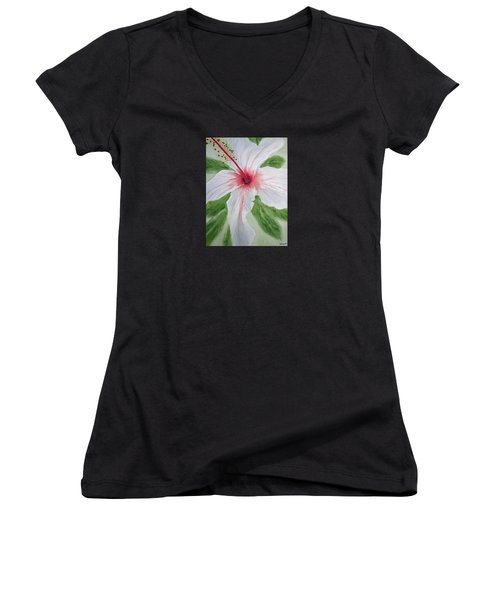 White Hibiscus Flower Women's V-Neck T-Shirt (Junior Cut) by Elvira Ingram
