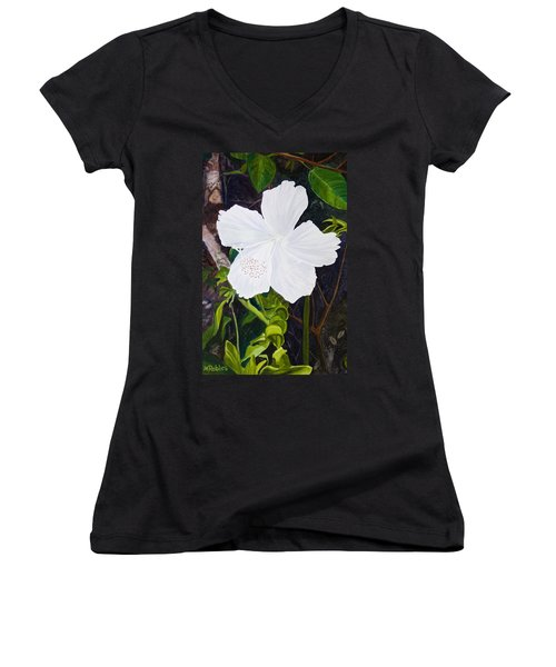 White Hibiscus Women's V-Neck T-Shirt