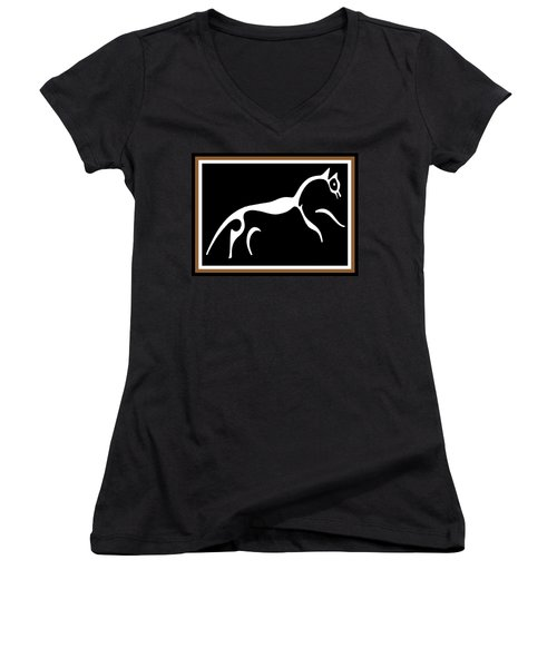 Women's V-Neck T-Shirt (Junior Cut) featuring the digital art White Horse Of Uffington by Vagabond Folk Art - Virginia Vivier