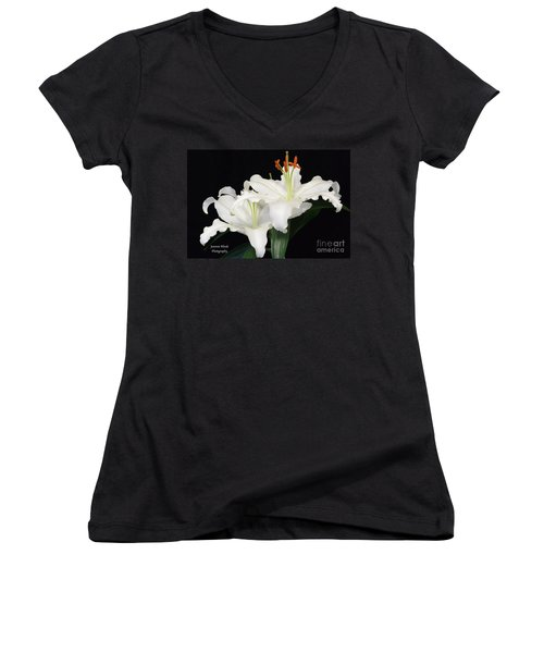 Women's V-Neck T-Shirt (Junior Cut) featuring the photograph White  Lilies by Jeannie Rhode