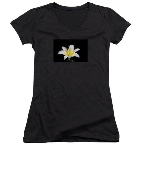 White Lily Women's V-Neck T-Shirt (Junior Cut) by Doug Long
