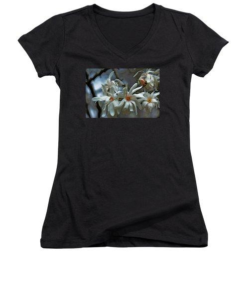 White Magnolia Women's V-Neck T-Shirt (Junior Cut) by Rowana Ray