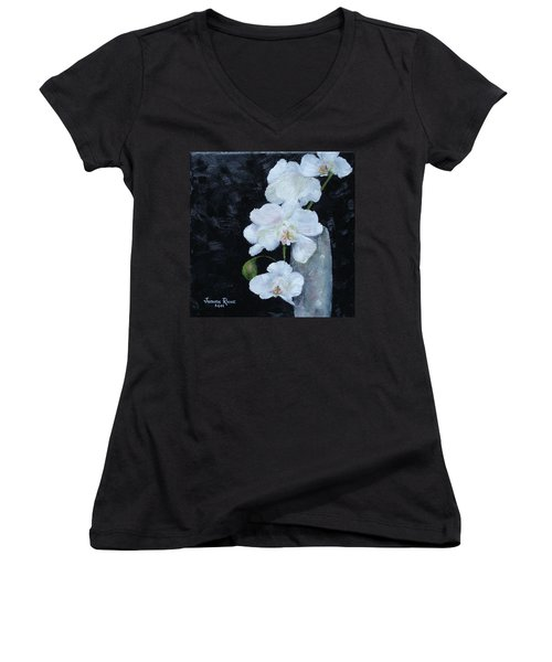 Women's V-Neck T-Shirt featuring the painting White Orchid by Judith Rhue