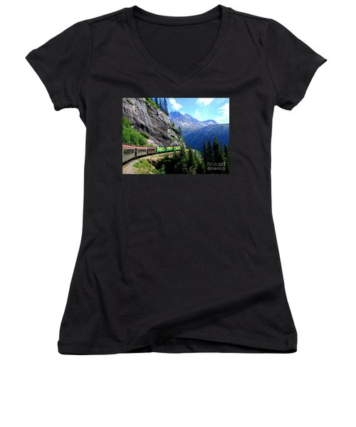 White Pass And Yukon Route Railway In Canada Women's V-Neck T-Shirt (Junior Cut) by Catherine Sherman