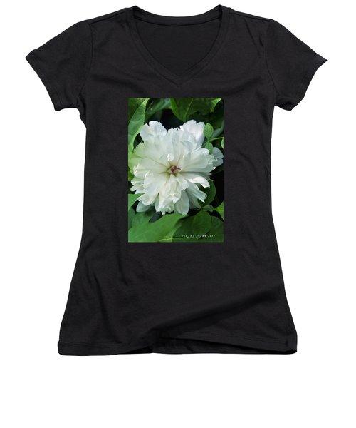 Women's V-Neck T-Shirt (Junior Cut) featuring the photograph White Peonese by Verana Stark