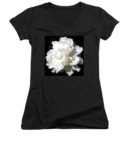 White Peony Women's V-Neck T-Shirt
