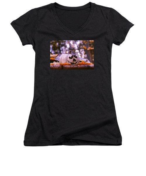 White Pumpkin Women's V-Neck T-Shirt (Junior Cut) by Aaron Aldrich