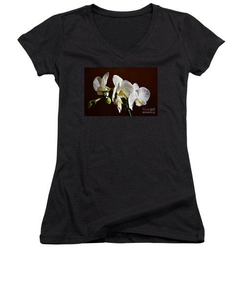 White Women's V-Neck T-Shirt (Junior Cut) by Ramona Matei