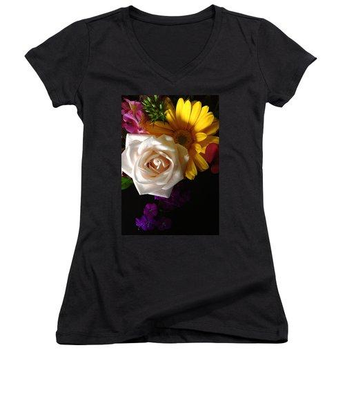Women's V-Neck T-Shirt (Junior Cut) featuring the photograph White Rose by Meghan at FireBonnet Art