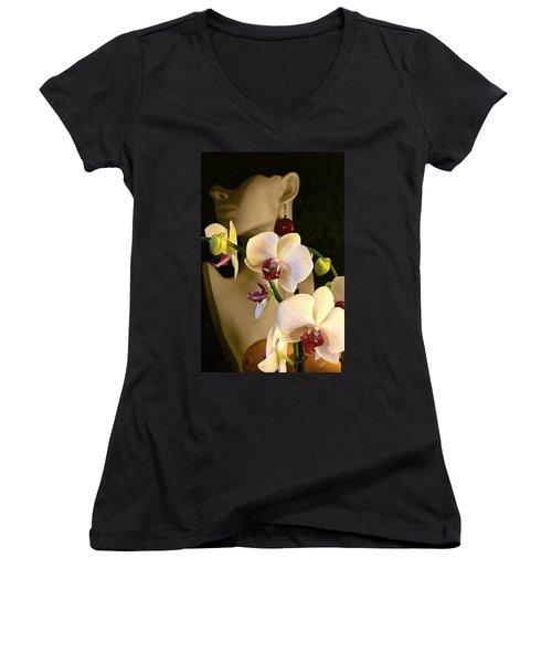 Women's V-Neck T-Shirt (Junior Cut) featuring the photograph White Shoulders by Elf Evans