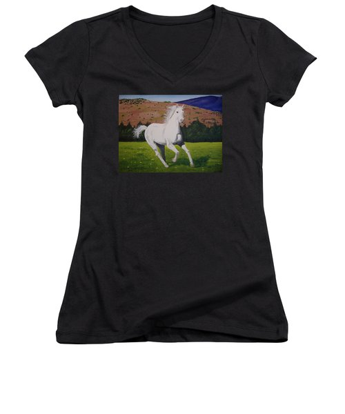 Women's V-Neck T-Shirt (Junior Cut) featuring the painting White Stallion by Norm Starks