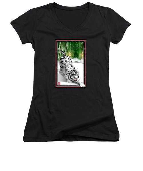 White Tiger Guardian Women's V-Neck T-Shirt (Junior Cut) by John Wills