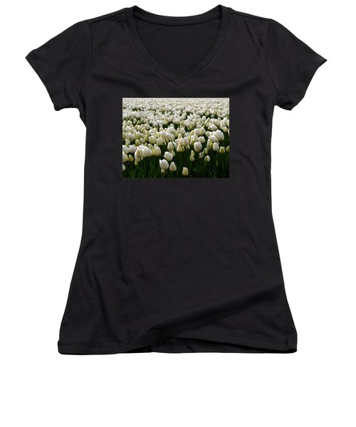 Women's V-Neck featuring the photograph White Tulip Field  by Luc Van de Steeg