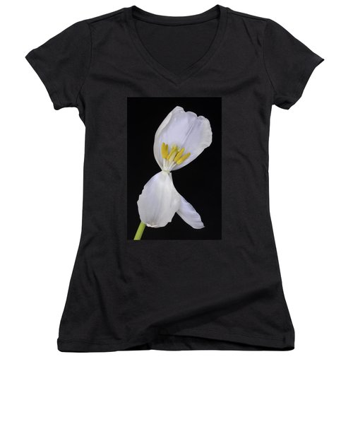White Tulip On Black Women's V-Neck