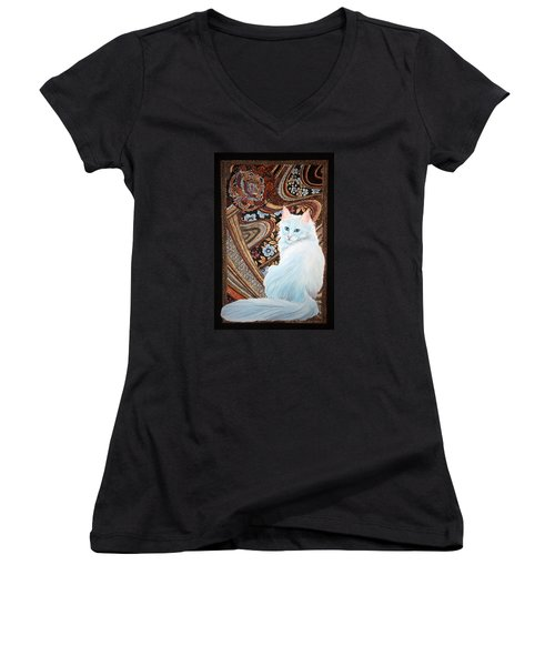 White Turkish Angora Women's V-Neck T-Shirt