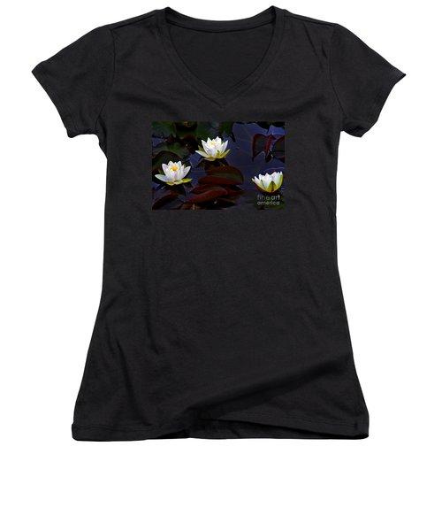 Women's V-Neck T-Shirt (Junior Cut) featuring the photograph White Water Lilies by Nina Ficur Feenan