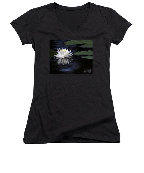 White Water Lily Left Women's V-Neck