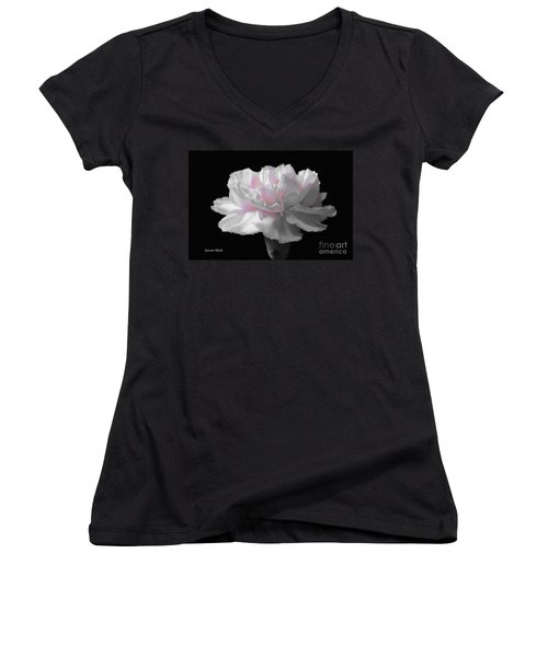 Women's V-Neck T-Shirt (Junior Cut) featuring the digital art White With Pink Carnation by Jeannie Rhode