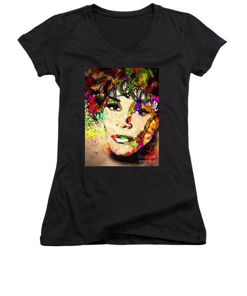 Whitney Houston Women's V-Neck T-Shirt (Junior Cut)