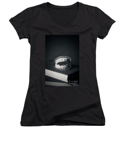 Women's V-Neck T-Shirt (Junior Cut) featuring the photograph Whose Teeth Are These? by Trish Mistric