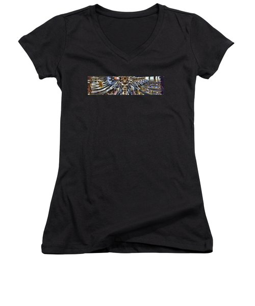 Wide Panorama Of The Interior Ceiling Of Sagrada Familia In Barcelona Women's V-Neck (Athletic Fit)
