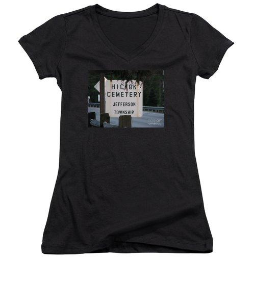 Women's V-Neck T-Shirt (Junior Cut) featuring the photograph Wild Bill Hickok by Michael Krek