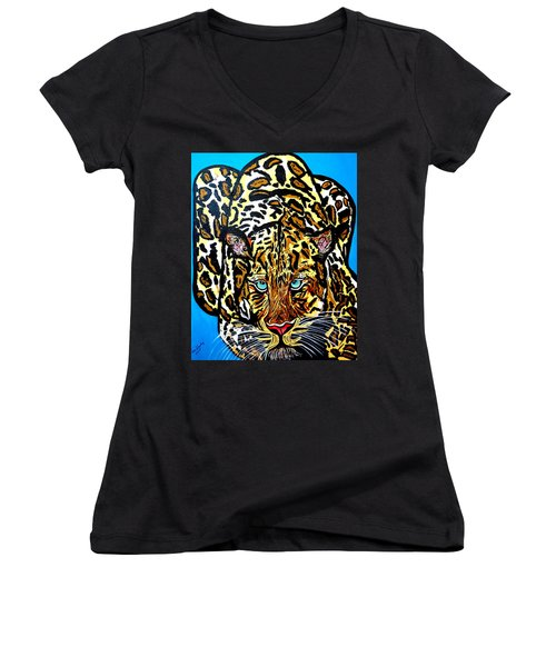Women's V-Neck T-Shirt (Junior Cut) featuring the painting Wild Cat by Nora Shepley
