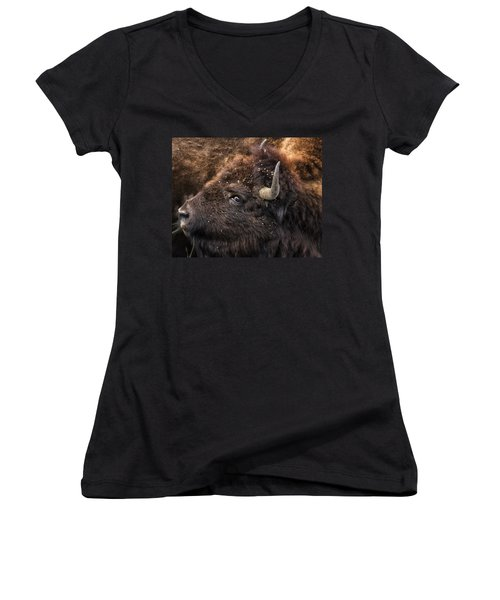 Wild Eye - Bison - Yellowstone Women's V-Neck (Athletic Fit)