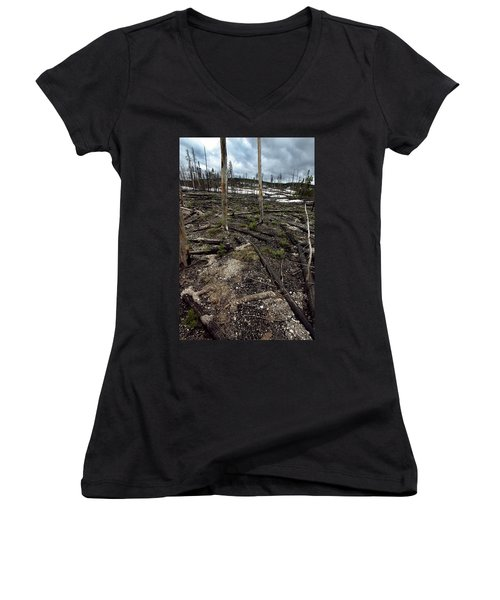 Women's V-Neck T-Shirt (Junior Cut) featuring the photograph Wild Fire Aftermath by Amanda Stadther