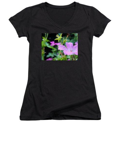 Women's V-Neck T-Shirt (Junior Cut) featuring the photograph Wild Geranium Flowers by Clare Bevan