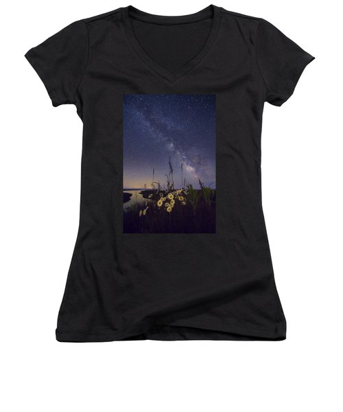 Wild Marguerites Under The Milky Way Women's V-Neck (Athletic Fit)