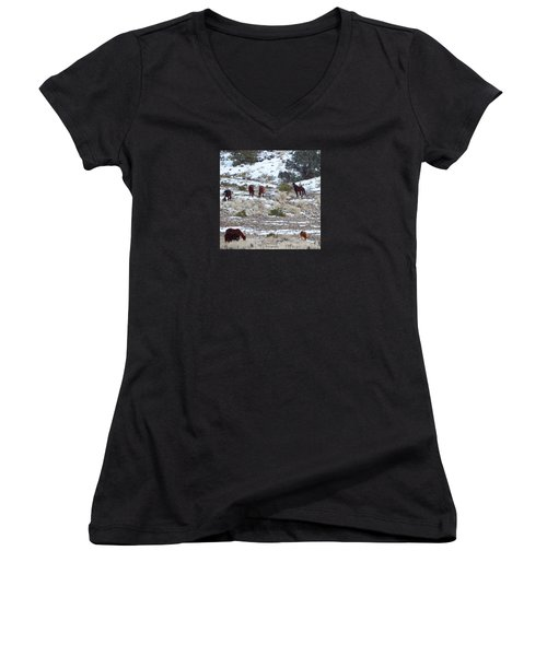 Wild Mustangs In A Nevada Winter Women's V-Neck T-Shirt (Junior Cut) by Bobbee Rickard