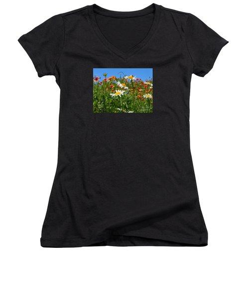 Women's V-Neck T-Shirt (Junior Cut) featuring the photograph Wild White Daisies #1 by Robert ONeil
