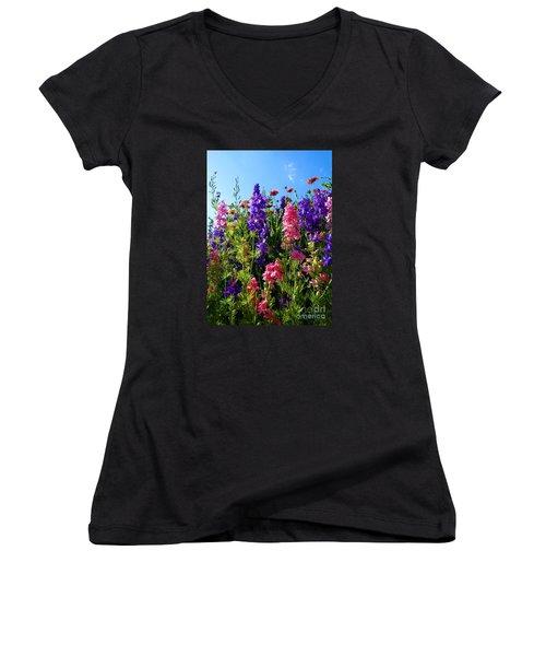 Wildflowers #14 Women's V-Neck T-Shirt (Junior Cut) by Robert ONeil