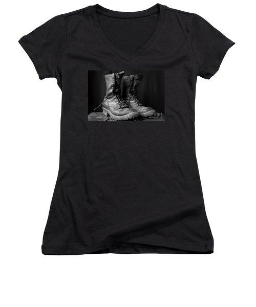 Women's V-Neck T-Shirt (Junior Cut) featuring the photograph Wildland Fire Boots Still Life by Kerri Mortenson